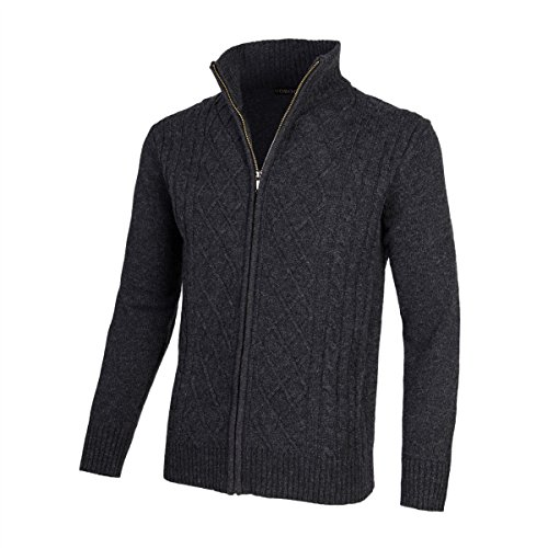 VOBOOM Mens Casual Stand Collar Cable Knitted Zip-up Cardigan Sweater Jacket (Dark Grey, XXL)