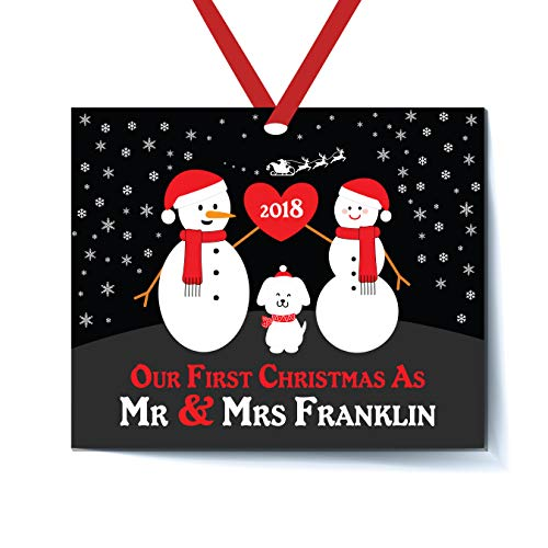 Mr and Mrs Christmas Ornament Personalized with Dog Pet - Our First Christmas as Mr & Mrs Ornament 2018-1st 2nd Married Christmas Ornament First Married Christmas Newlywed Christmas Ornament (Dog Ornament Christmas Personalized)