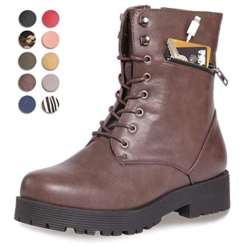 CINAK Military Combat Boots for Women- Winter Autumn Comfort Outdoor Waterproof Martin Booties Mid-Calf Shoes (5.5-6B(M)US/CN37/9.2'', Dark Brown)