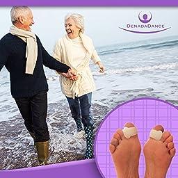 DenadaDance Toe Spacers Set of 4 - 2 Large & 2 Medium Soft Gel Toe Spreaders - Work as Bunion Splint or Straightener for Overlapping Toes - Hallux Valgus, Hammer Toe, Mallet Toe Pain Relief