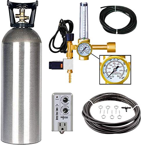 Grow Crew Hydroponic CO2 Enrichment Kit Includes 20 lb Aluminum CO2 Tank, Carbon Accelerator C02 Regulator, Spartan Series Repeat Cycle Timer, and a Active Air Rain System to Shower Your Plants