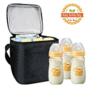 Baby Bottle Bags for Travel, Homga Breastmilk Insulated Storage Bag with Air Tight Lock in The Cold & Preserve Important Nutrients, Milk Baby Bottle Cooler Bag Fits up to 8Oz. Bottles