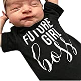 NUWFOR Infant Child Kids Boys Letter Print Jumpsuit Romper Short Sleeve Outfits Clothes(Black-4,Size:6-12 Months)