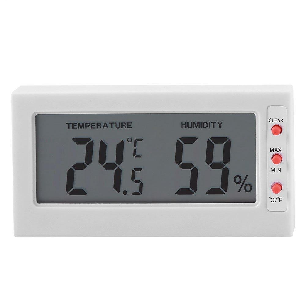 Monitor de humedad de temperatura interior, sensor digital de temperatura y humedad Gran pantalla LCD de registro máximo/mínimo(blanco)
