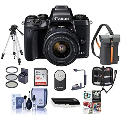 Canon EOS M5 Mirrorless Digital Camera Kit with EF-M 15-45mm f/3.5-6.3 IS STM Lens - Bundle with Holster Case, 32GB SDHC Card, Tripod, Remote Controller, 49mm Filter Kit, Software Package And More