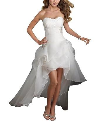 GEORGE BRIDE Traegerloses High-Low Satin Brautkleider Hochzeitskleider,Groesse  34, Elfenbein