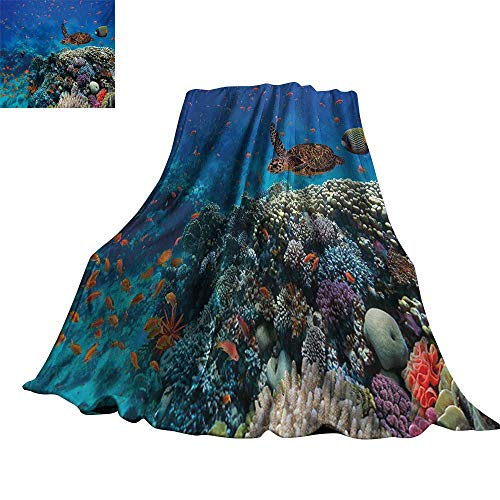 Angoueleven Fish,Warm Blanket Exotic Fish and Turtle in Fresh Water on Stony Corals Bio Diversity Wild Life Photo All Season Blanket 50