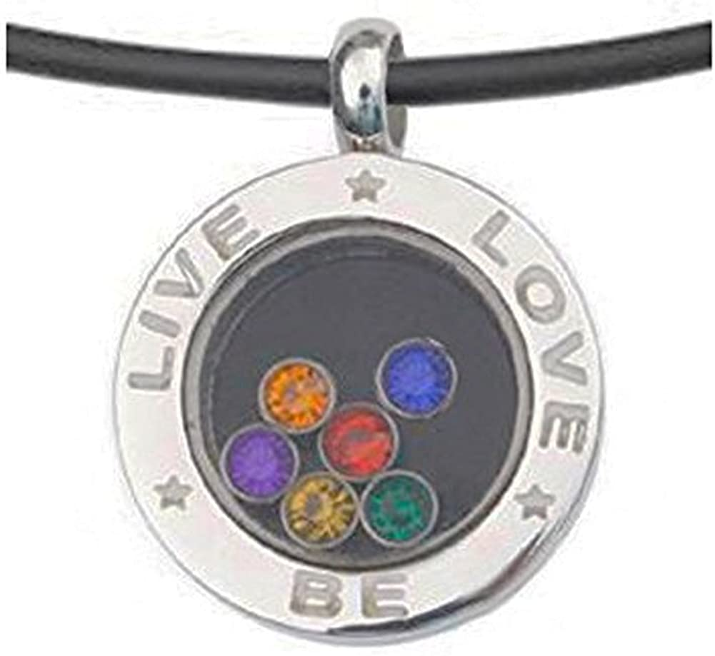 Pride Necklace Handmade Rainbow Flag Lips Stainless Steel and Glass