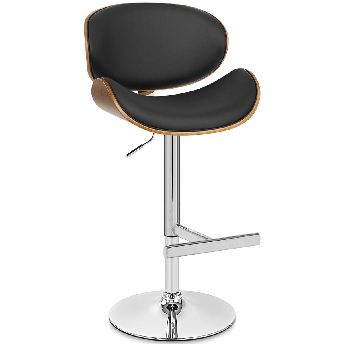 Life Carver Height Adjustable Bentwood Leather Padded Bar Stool Chair Black & Walnut Chrome Swivel Stool Restaurant Kitchen Breakfast Stool