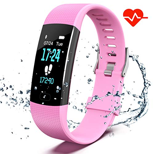 Apirka Fitness Tracker HR, Activity Tracker Watch with Heart Rate Monitor, IP67 Waterproof Pedometer. Sleep Monitor, Step Counter, Calories Counter for Android & iPhone (Pink)
