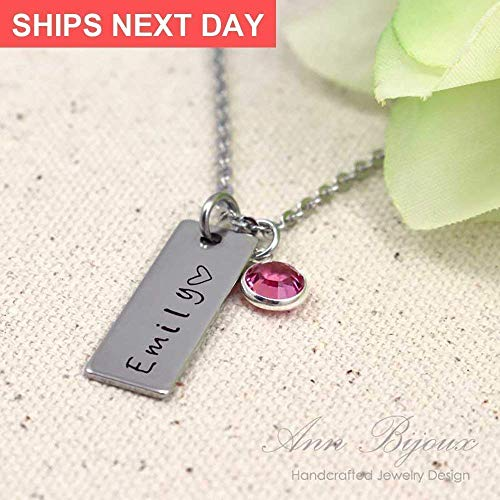 (Stainless Steel Name Plate Jewelry Personalized Hand Stamped Initial Necklace Dainty Vertical Bar And Birthstone Mother Gift Birthday For)