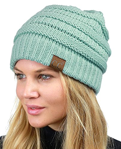 C.C Unisex Chunky Soft Stretch Cable Knit Warm Fuzzy Lined Skully Beanie, Mint ()