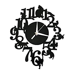 Happy Hours - Creative Wall Clocks / Home DIY Decoration Watch / Living Room Mirror 3D Wall Design - Cat on Frame