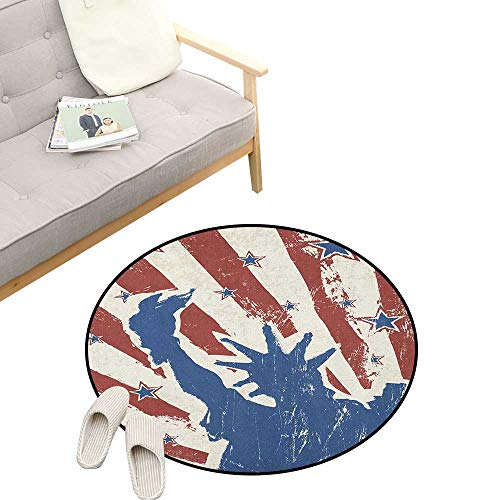 4th of July Round Area Rug ,Sketch Style Statue of Liberty with Grunge Stripes and Stars Pattern, Bedroom Living Room Study Room Kids Playing 23