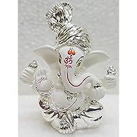 Gold Art India Silver Plated Terracotta Pagdi Ganesha Idol - (6x4x3cm, White)