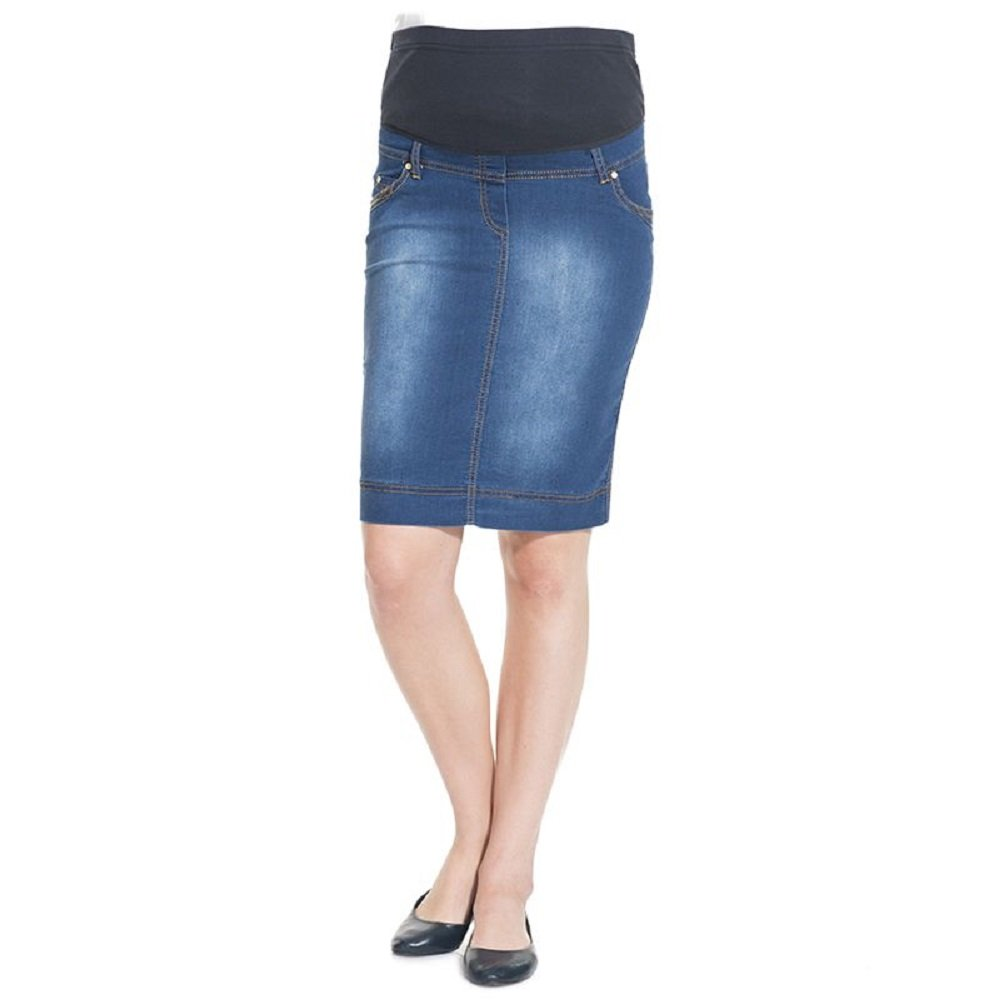 Mothers Essentials Maternity Pregnant Denim Skirt with Pregnancy Jersey Panel (Light Blue, Medium)
