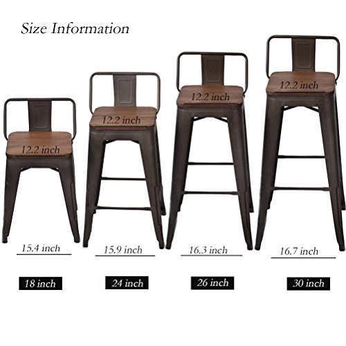 Changjie Furniture High Backless Metal Bar Stool for Indoor-Outdoor Kitchen Counter Bar Stools Set of 4 �� (24 inch, Low Back Wooden Top)