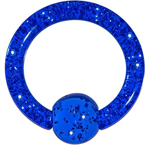 Acrylic Dark Blue Glitter Ball Captive Ring 8 ()