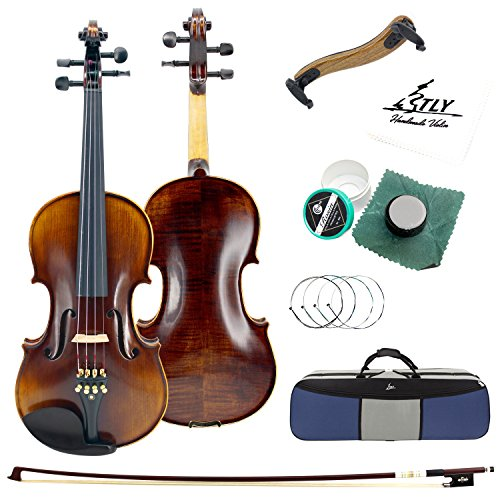 TLY Solid Wood Professional Acoustic Violin 100% Handmade Varnished Natural Fiddle Outfit