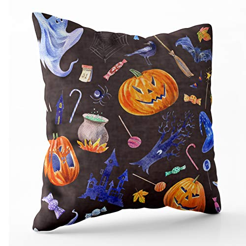 Crannel Art Pillow Case, Double-Sided Printing Pillowcase 16X16 Inch Throwing Cushion Pattern Pumpkin Leaves Invisible Zipper Square Decorative Home -