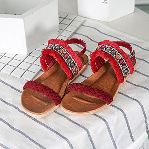 Bekleidung SANFASHION Mujer Schuhe Damen de Lisa SANFASHION Piel Romana 144155 Rojo drPzrq
