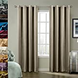 ChadMade Blackout Lined Premium Velvet Curtain Gray Beige 100Wx108L Inch (1 Panel), Eyelet Grommet For Livingroom Bedroom Theater Studio, BIRKIN Collection Review