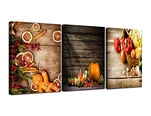 Peaches Framed Canvas - 3 Panel Canvas Spice and Spoon Vintage Wall Decor Kitchen Pictures for Living Room Modern Painting,Food and Fruits HD Prints Artwork Pictures Home Decor Wooden Framed Ready to Hang(36''Wx16''H)