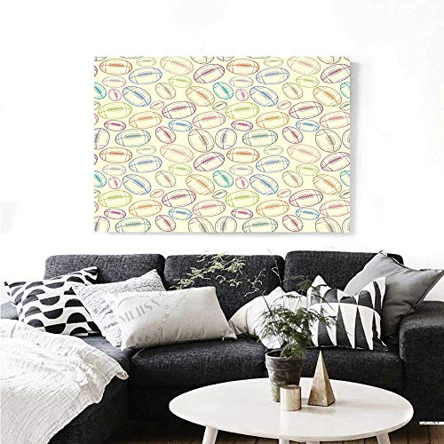 Vintage Canvas Football Daisy (Warm Family American Football Modern Canvas Painting Wall Art Grunge Looking Hand Drawn Style Sports Sketch with Colorful Retro Balls Art Stickers 24