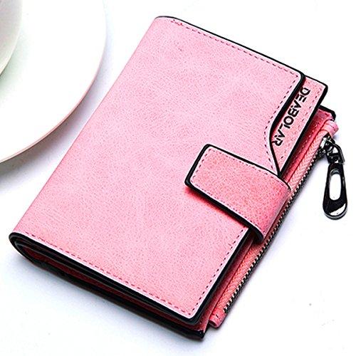 Women Short PU Leather Wallet(Pink) - 5