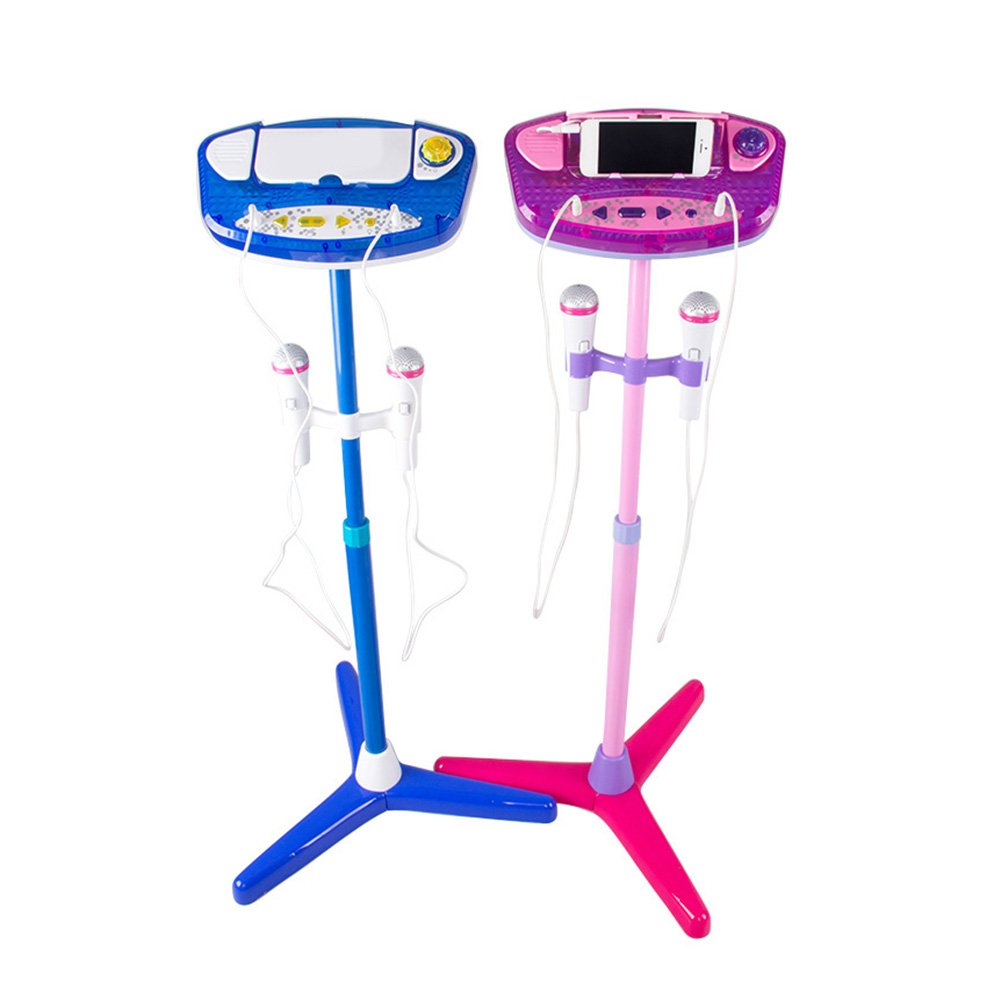Adealink Children Karaoke Machine Adjustable Stand With 2 Microphones AUX Cable Kids Boys Girls Music Play Toys Set