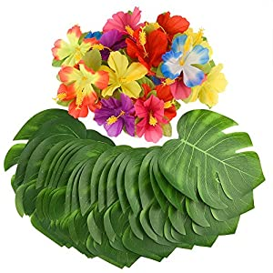 "Kuuqa 60 Pcs Tropical Party Decoration Supplies 8"" Tropical Palm Monstera Leaves and Hibiscus Flowers, Simulation Leaf for Hawaiian Luau Party Jungle Beach Theme Table Decorations 14"
