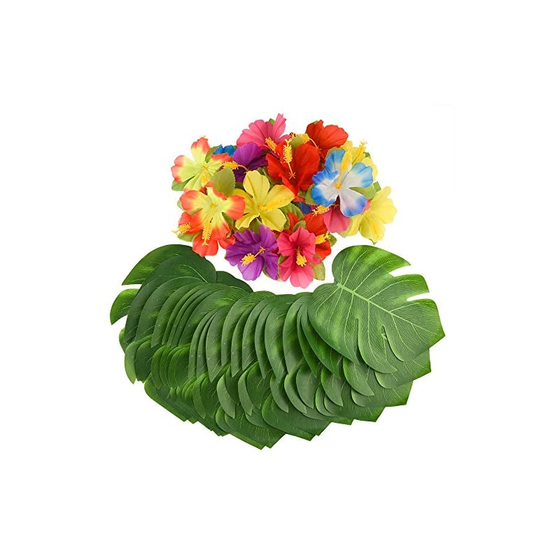 """silk flower arrangements kuuqa 60 pcs tropical party decoration supplies 8"""" tropical palm monstera leaves and hibiscus flowers, simulation leaf for hawaiian luau party jungle beach theme table decorations"""