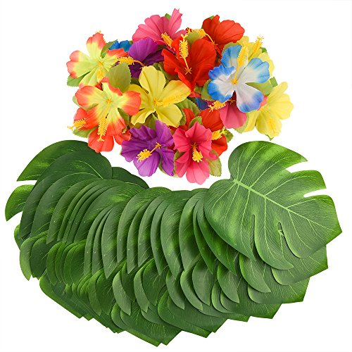 KUUQA 88 Pcs 20cm/8 Tropical Palm Leaves and Silk Hibiscus Flowers Party Decor, Artificial Monstera Plant Leaves Flowers Hawaiian Luau Party Jungle Beach Theme BBQ Birthday Party Decorations Supplie