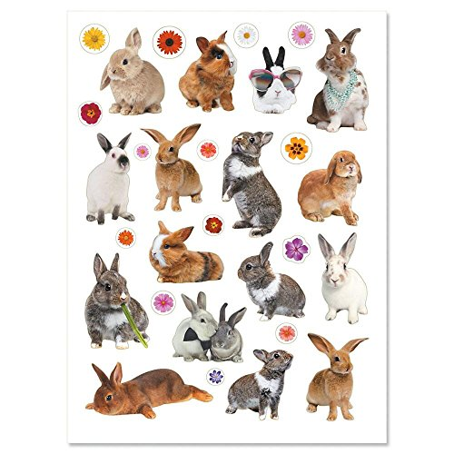 Current Photo Bunnies and Flowers Easter Stickers - 60 - Rabbit Stickers Bunny