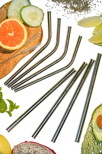 Reusable Stainless Steel Straws by EARTHLINGS ? Set of 8 Including 4 Extra Wide Smoothie Straws + 4 Bent Straws ? Including 2 Cleaning Brushes + Travel Bag ? Eco Friendly & Vegan