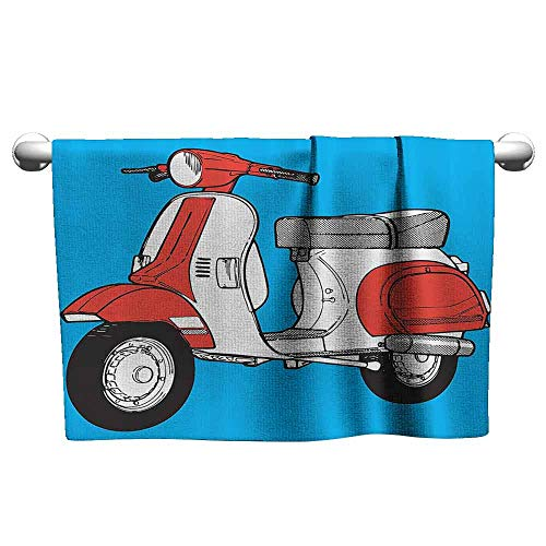 (DUCKIL Modern Hand Towels Funky Decor Cute Scooter Motorcycle Retro Vintage Vespa Soho Wheels Rome Graphic Print Extra Long Bath Sheet 27 x 14 inch Blue Red White)