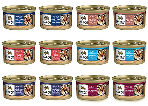 Nutro Max Cat Adult Canned Food 6 Flavor Variety Bundle: (2) Turkey & Chicken Liver, (2) Seafood & Tomato Bisque, (2) Duck, (2) Lamb & Turkey Cutlets, (2) Venison & (2) Salmon, 3 Oz Ea (12 Cans Total) ()