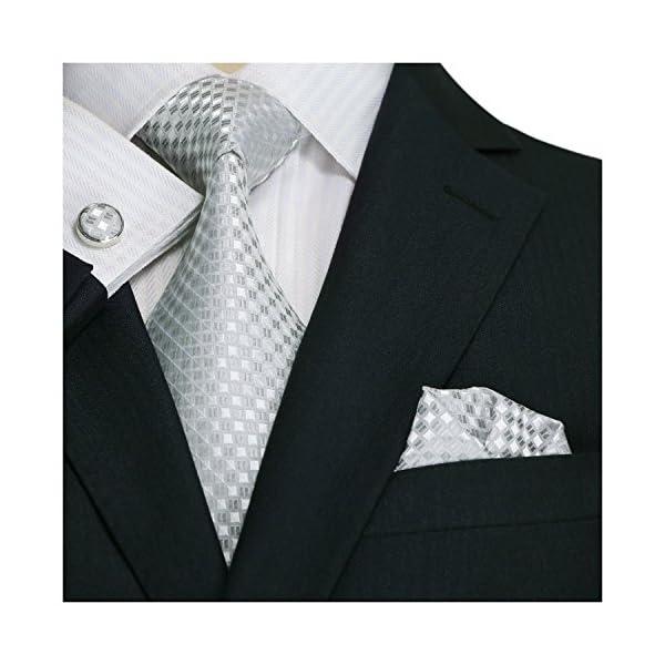 Landisun-SILK-Various-Plaids-Checks-Mens-SILK-Tie-Set-NecktieHankyCufflinks