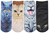 Womens Ladies 4 Pack Animal Cat Face Cartoon Short Low Cut Ankle Socks, Multi Color