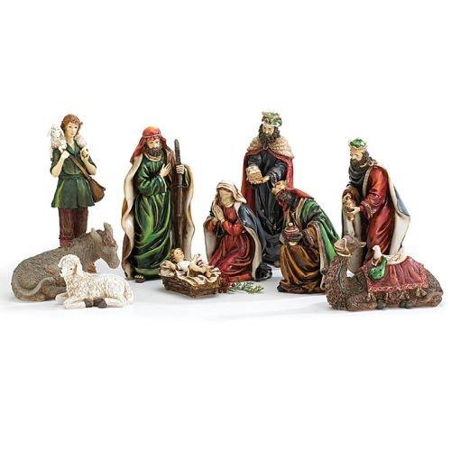10 Piece Hand Painted Nativity Figurine Set Jesus In Manger Beautiful Christmas Home Decor by Burton & Burton