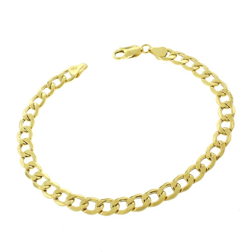 10k Yellow Gold 7mm Hollow Cuban Curb Link Bracelet Chain 8.5''