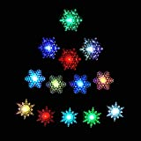 TOUCH DOWN Multi colors Led Acrylic Snowflake Light, set of 6 Snowflake with Suction Cups Attached to Back for Hanging in a Window Christmas and Holiday Decoration, Home, Hotels and Parties etc.