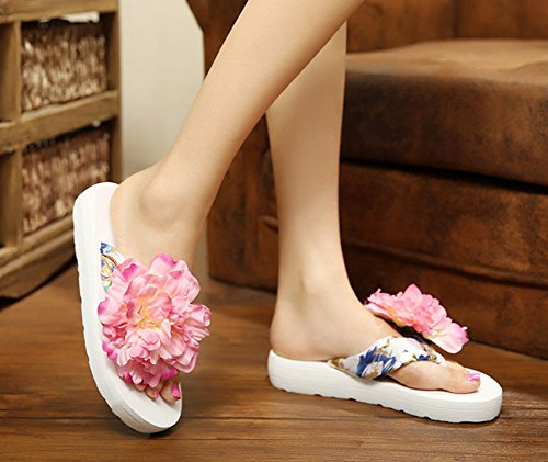 YOUJIA Mujeres Boho Flores Chanclas Verano Playa Zapatos de cuña Plataforma Zapatillas #2 Blanco Rose