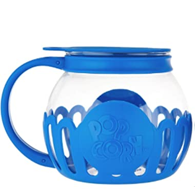 Ecolution Micro-Pop Microwave Popcorn Popper 3QT - Temperature Safe Glass w/Multi Purpose Lid (Large, Blue)