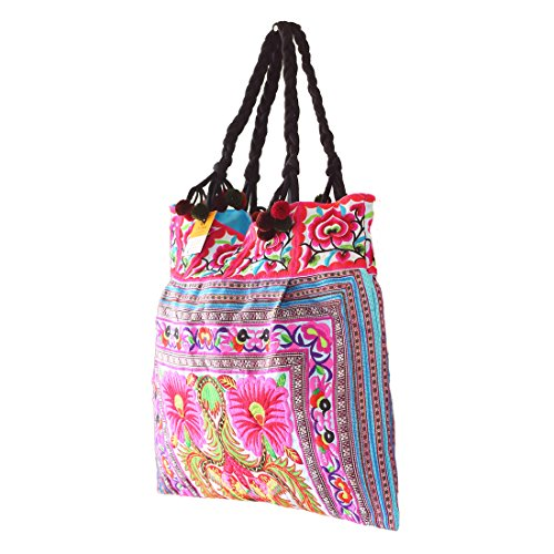 Size Blue Embroidered Changnoi Tote Large Hmong Bag Unique Fabric Flower Hill Tribes xgw4HqzO