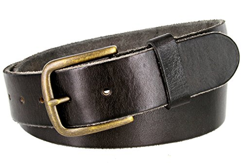 Classic Oil-tanned Genuine Leather Casual Jean Belt (Black, 34)
