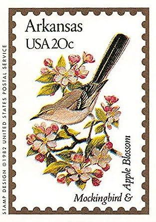 Arkansas State Bird Flower Trading Card Mockingbird Apple Blossom 1991 Bon Air