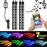 neon lights inside cars - Car LED Strip Lights, InTeching 4 Pcs 48 LEDs Car Interior RGB Music Atmosphere Floor Underdash Lights, APP Control Bluetooth Light Kit [App Updated: June 14, 2018]