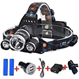 Kuman Waterproof LED Headlamp Flashlight -Rechargable Super Bright 4 Modes 3000 lm Xm-l XML 3 x Cree T6 Led 30W Head Torch lamp for Outdoor Sports Hiking Camping Riding Fishing Hunting KH11
