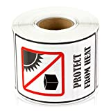 PROTECT FROM HEAT 3'' x 2'' International Safe Shipping Handling Caution Labels Stickers (300 labels per roll / 4 rolls)